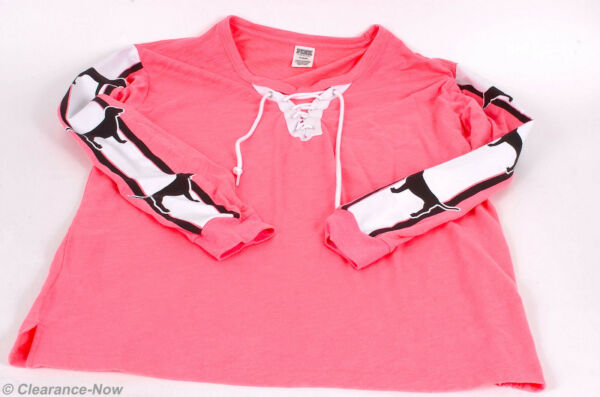Pink by Victoria#x27;s Secret sz M Pink Knit Top Dogs on Sleeves Lace up Neck 8259 $20.25