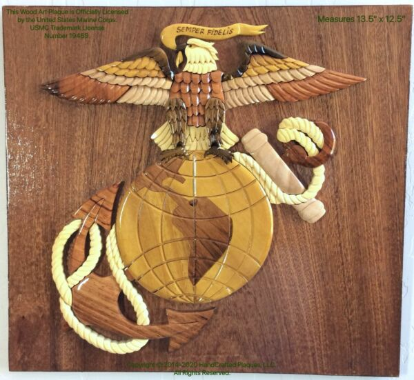 EAGLE GLOBE & ANCHOR - U.S. MARINE CORPS - Handcrafted Wood Art Military Plaque