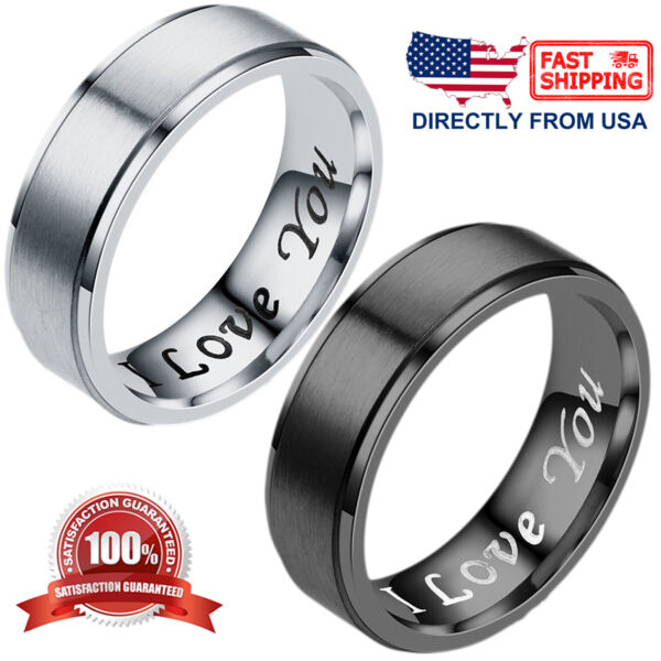 quot;I Love Youquot; Couples Matching Promise Ring Men Women Matte Finish Wedding Band