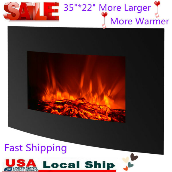 IKAYAA Electric Wall Mount Fireplace 3D Flame Heater With Remote Control A0H7