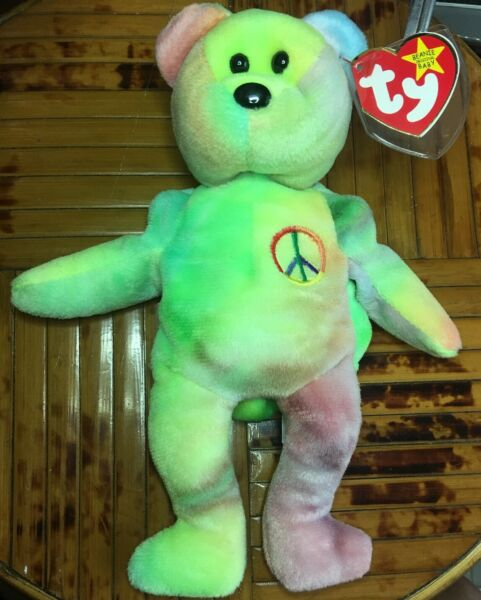 Ty Beanie Baby Peace Bear - Early Garcia Production - Tag & Stitch Error P.E.