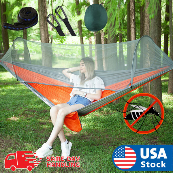 Portable Nylon Hammock Tent With Mosquito Net Double Outdoor Camping Travel Hike $29.98