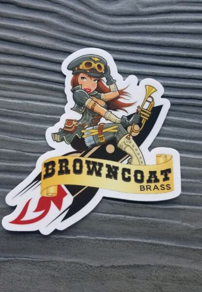 FireflySerenity Browncoats Brass Sticker Decal airplane pin-ups 3.5x4 in