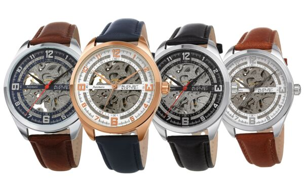 Men's August Steiner AS8264 Skeleton Automatic Movement Leather Strap Watch