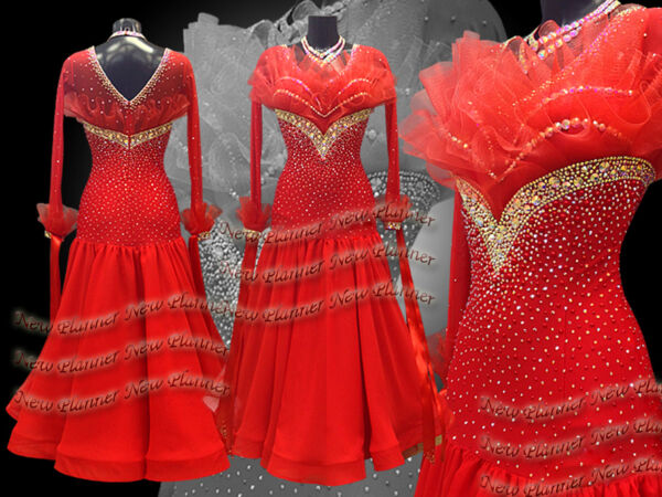 B7288 Ballroom smooth swing Waltz Tango Rhythm us 10 Dance Dress Red