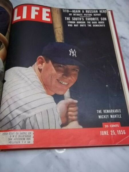 LIFE MAGAZINE BOUND 1956 - WITH MICKEY MANTLE COVER!