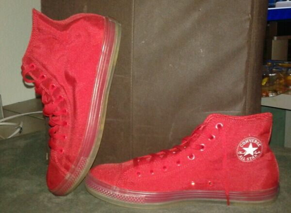 Converse Chuck Talylor All Star Red w/ Clear Bottoms Mens 12 New Rare HTF