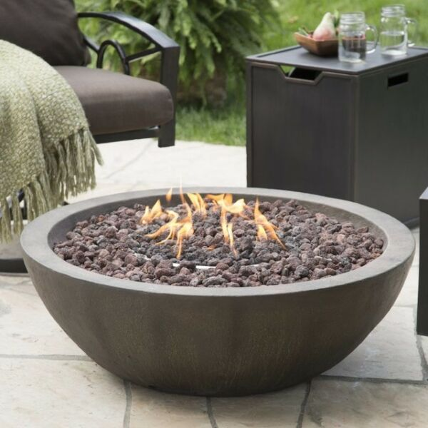 Outdoor Fire Bowl Propane Gas Backyard Patio Deck Stone Fireplace Large