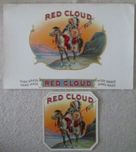 Tobacco embossed RED CLOUD near mint cigar box 2 label set early 1900's