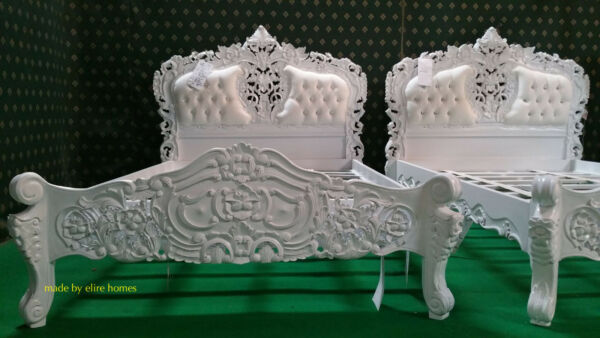 Solid White 5' King  Size oriental carved mahogany designer French Rococo bed