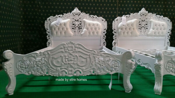 STOCK Double Size Baroque carved mahogany designer French Rococo bed