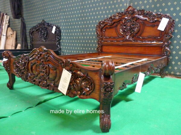 UK  King size 5' antique shabby chic french style furniture venetian Rococo bed