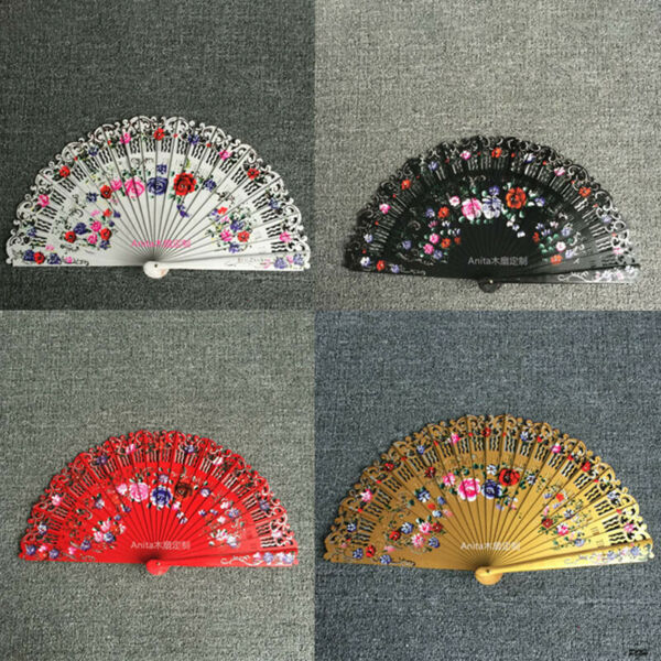 Spanish Style Hand Painted Flower Fan Wood Fan Wedding Gift Custom Dance Fan $15.57