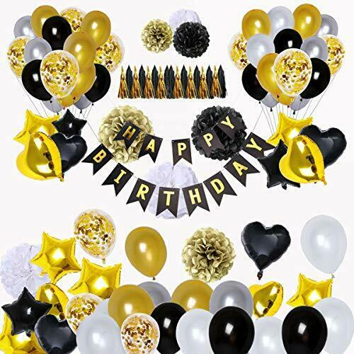 BRT Black and Gold Party Decorations90Pcs Happy Birthday Banner Star Heart Foi