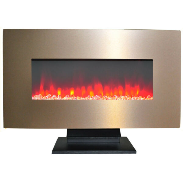 36 In. Metallic Electric Fireplace in Bronze with Multi-Color Crystal Rock Di...