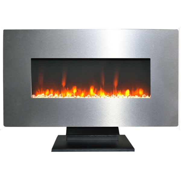 36 In. Metallic Electric Fireplace in Stainless Steel with Multi-Color Crysta...