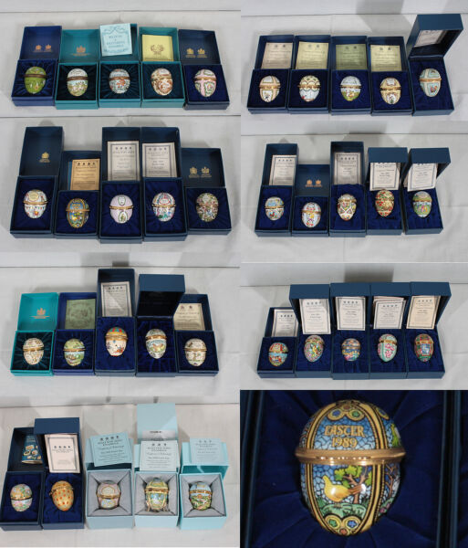 COLLECTION OF 37 HALCYON DAYS EASTER ANNUAL ENAMEL EGGS