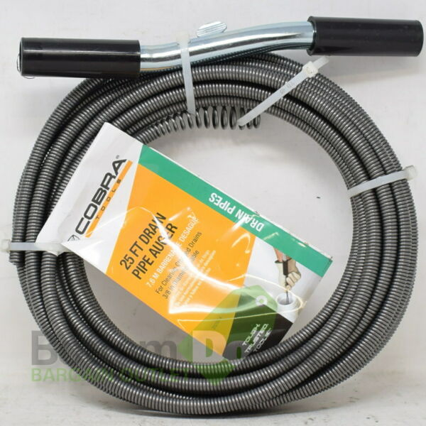 Cobra 25 Ft Drain Pipe Auger For Clearing Clogged Drains 38