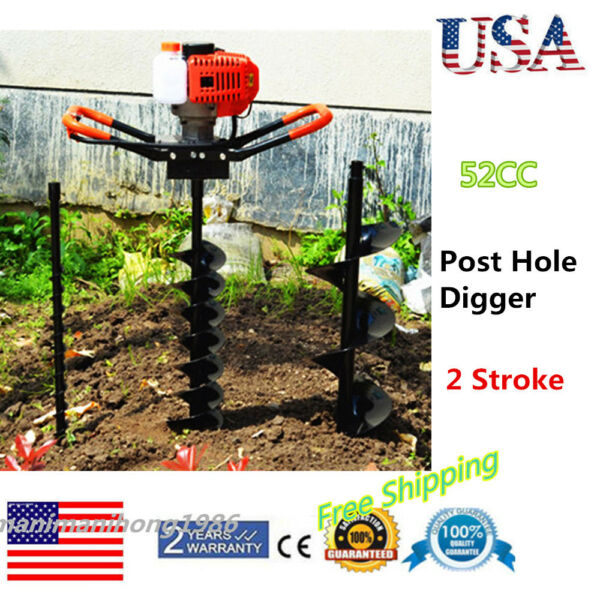 52cc Power Engine Gas Powered Post Hole Digger With 4