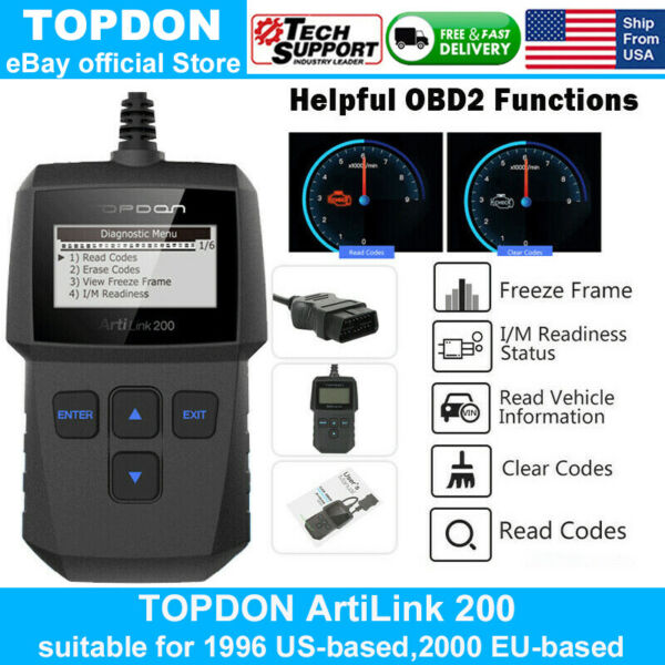 TOPDON AL200 OBD2 Auto Scanner Code Reader EOBD Car Diagnostic Tool Engine Light