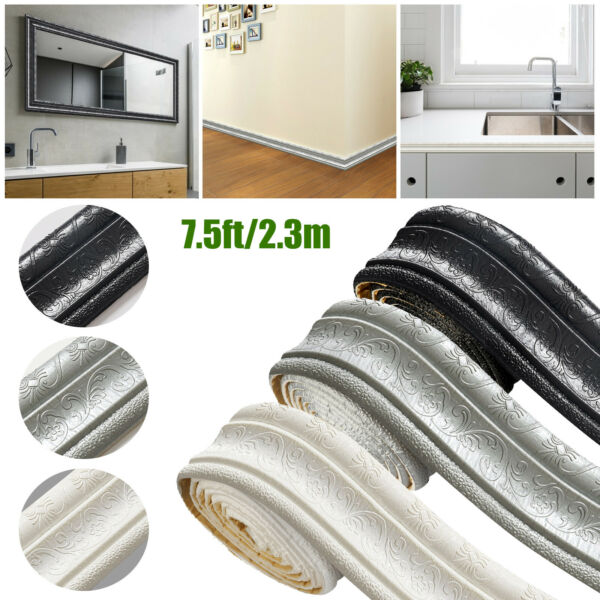 7.5ft DIY Wall Paper Border Oil Waterproof Self adhesive Wall Sticker Home Decor