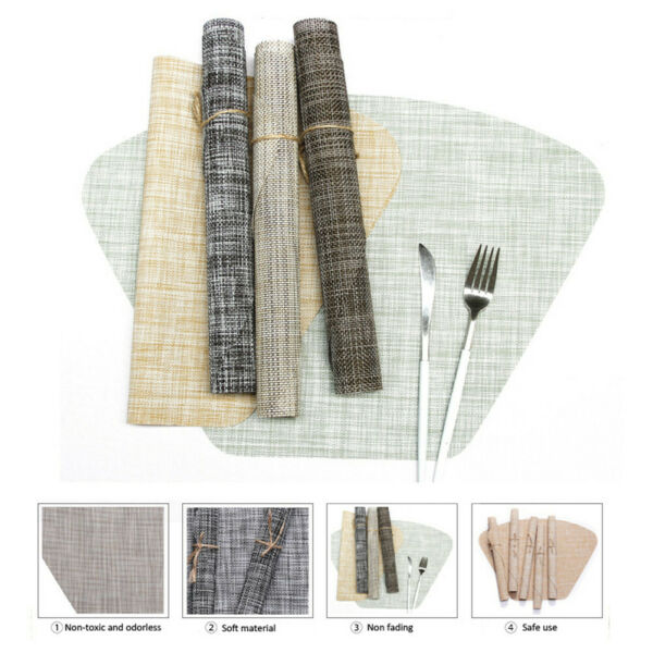 Round Table Placemats  6PcsLot Wedge Washable Table mats for Kitchen Table Home