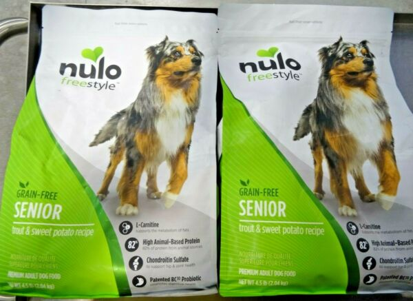 Lot Of 2 - Nulo Grain Free Senior Dog Food Trout and Sweet Potato 4.5 lb New