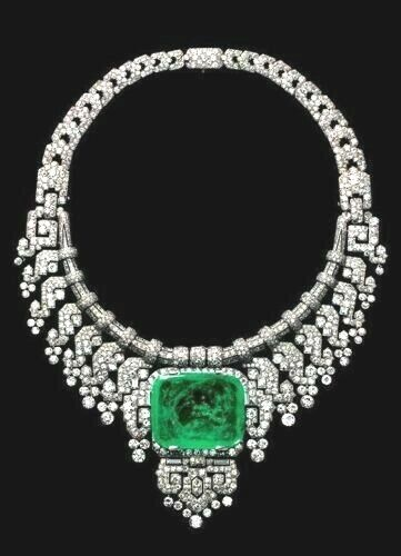 925 Sterling Silver Necklace 180ct Green Emerald Cut CZ vintage style - Royale`