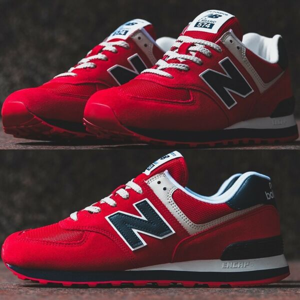 NEW BALANCE 574 ESSENTIALS Red/Navy MEN'S RUNNING SNEAKERS LIFESTYLE COMFY SHOES