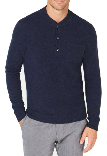 New Mens Tasso Elba Navy Henley Neck 100% Luxury Cashmere Pullover Sweater XXL