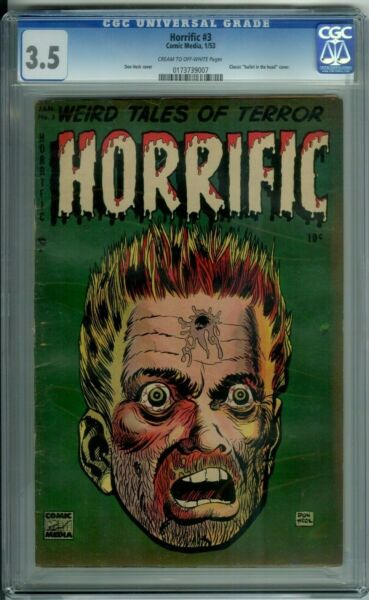 HORRIFIC 3 CGC 3.5 CLASSIC Bullet in Head PRECODE DEEP GREEN cover NOT faded