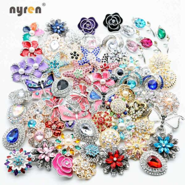 50pcs Top Mix Rhinestone Snap Charms 18mm Snap Button For 20mm Snap Jewelry 001