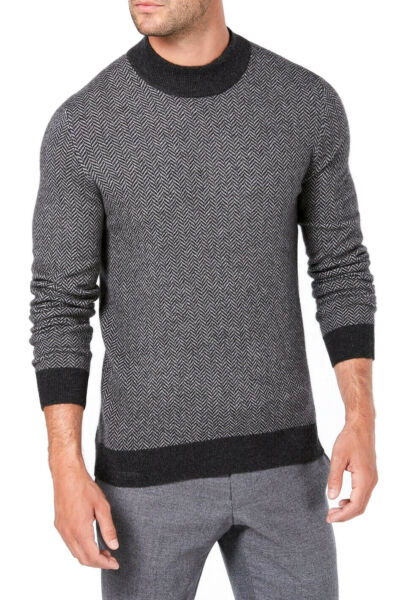 New Mens Tasso Elba Mock Neck 100% Cashmere Herringbone Pullover Sweater XL