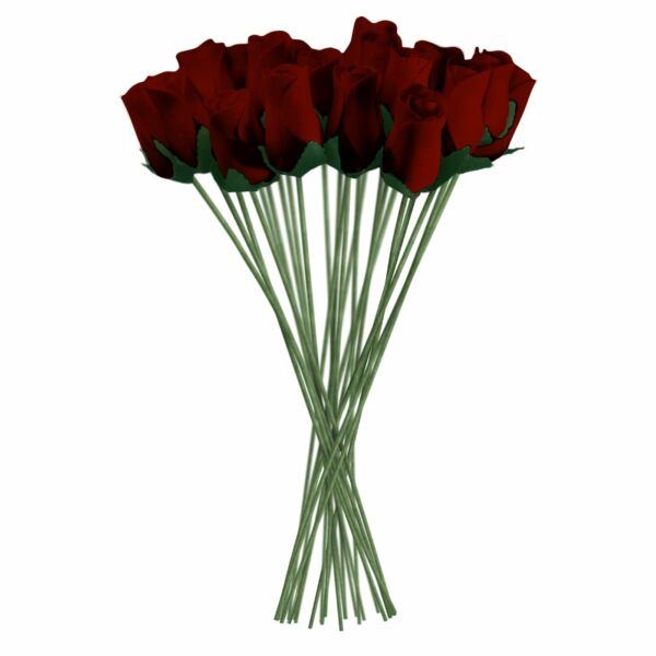 Burgundy Realistic Wooden Roses 32 Count