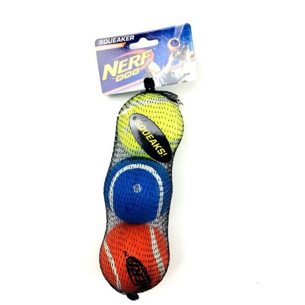 Nerf Dog Tennis Balls Squeakers Chew Toys Fetching Set 3 Rubber