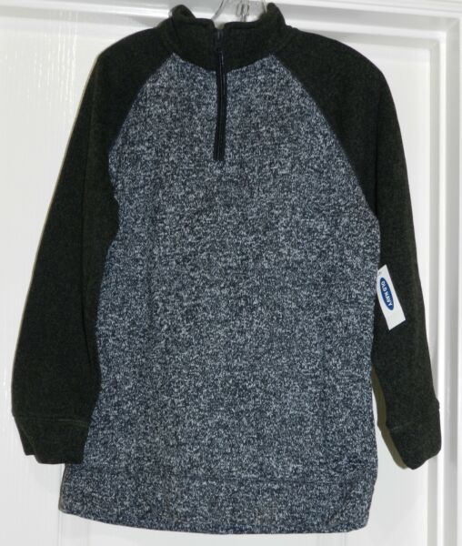 Boys Old Navy Pull Over 14 Zipper Knit Sweater NWT Gray Black