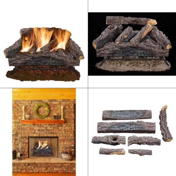 24 in. charred river oak vented natural gas log set  fireplace logs burner dual
