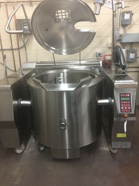 Firex 60 Gallon Steam Jacketed Tilting Kettle With Side And Bottom Sweeps.
