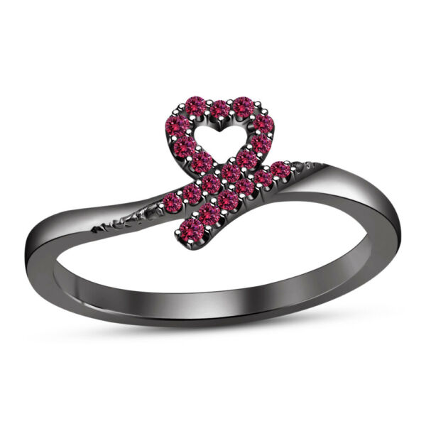 14K Black Gold Fn 1.20 Ct Round Pink Sapphire Bridal Heart Shape Engagement Ring