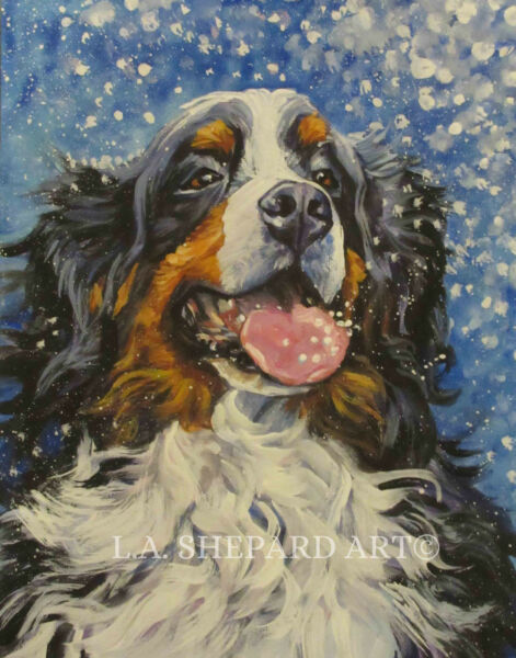 Bernese Mountain Dog BMD portrait art PRINT of LAShepard painting berner 8x10