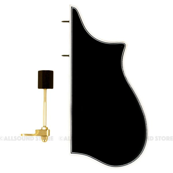 F-Model Bound Mandolin Pickguard & GOLD Bracket F5 Style BLACK w 3-Ply Binding