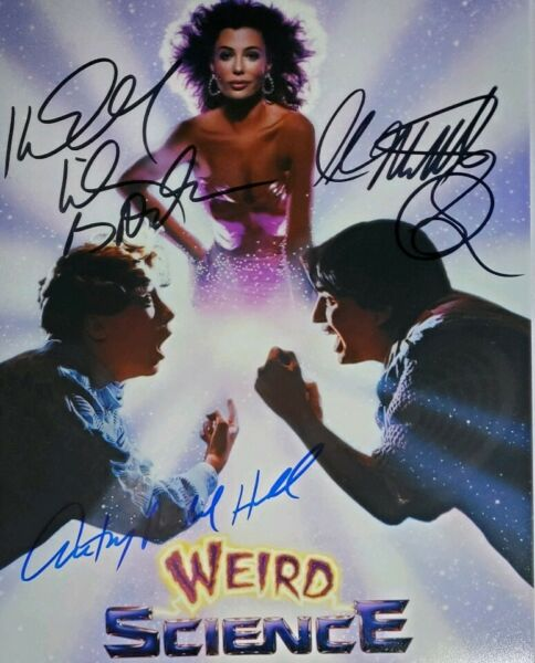 Wierd Science Cast X3 Signed 8x10 Photo w Holo COA Hall * Smith * Lebrock