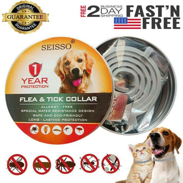 DEWEL Seisso Flea And Tick Control Collar for Medium Large Dog 1 Year Protection $11.99