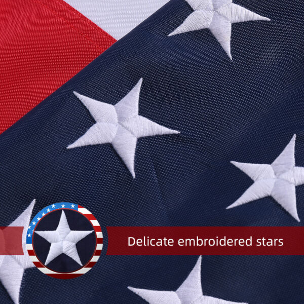 2x3 3x5 4x6 5x8 6x10 US Flag Polyester Embroidered Stars Brass Grommets USA Flag