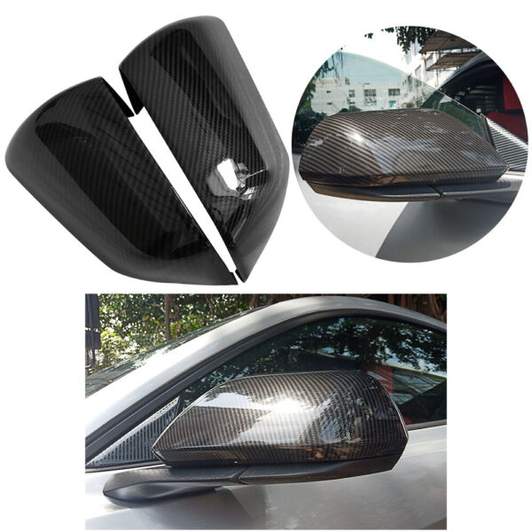 For Ford Mustang 2015-2019 Carbon Fiber Style Side Rearview Mirror Cover Trim 18