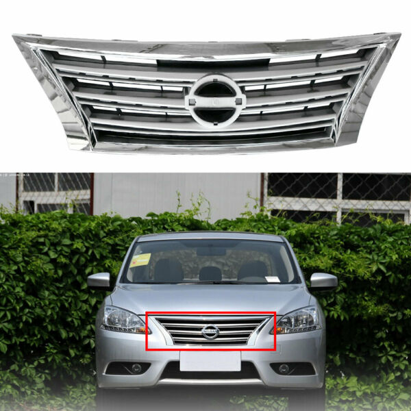 Fit For Nissan Sentra 2013-2015 14 Front Upper Grill Chrome w Silver Grille ABS $56.69