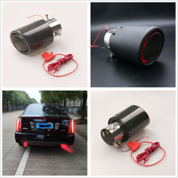 1 Pcs Carbon Fiber Look 63mm/2.5'' Car Exhaust Muffler Pipe with Red LED Light