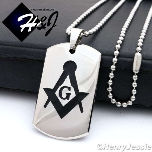 24quot;MEN#x27;s Stainless Steel 2.5mm Silver Beads Chain MASONIC Dog Tag Pendant*P71 $15.99