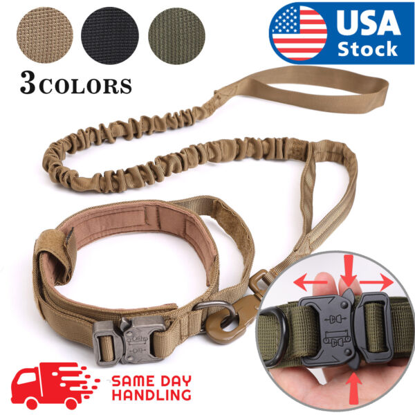 Tactical K9 Dog Training CollarLeash with Metal Buckle for L Dog Heavy Duty $19.98