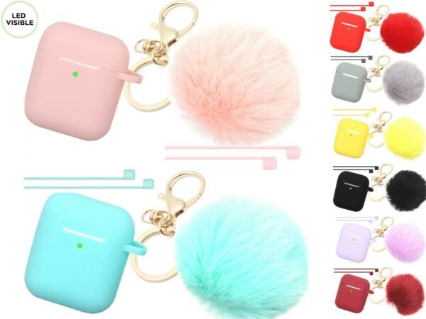 Cute Airpods Silicone Case Cover wFur Ball Keychain Strap for Apple Airpods 12